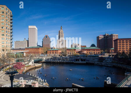 USA, Rhode Island, Providence, city skylline from Waterplace Park - Stock Photo