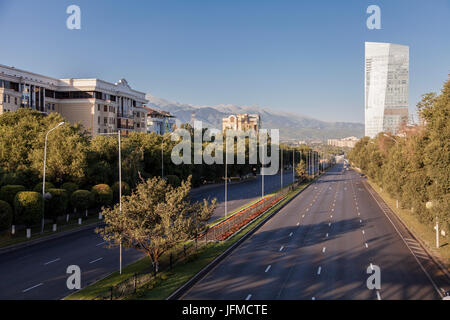 City landscape, the carriageway, one of the widest streets to Alma-Ata, Kazakhstan - Stock Photo