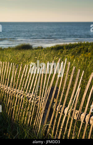 USA, Massachusetts, Cape Cod, Eastham, Nauset Light Beach, sand fence - Stock Photo