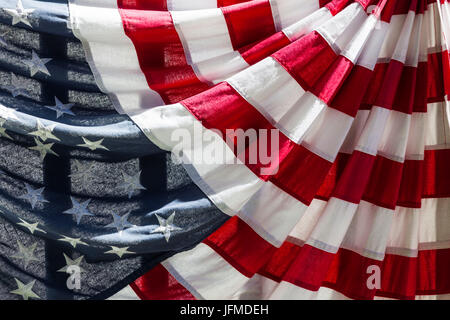 USA, Massachusetts, Manchester By The Sea, Fourth of July, US flags - Stock Photo