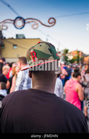 USA, Massachusetts, Cape Ann, Gloucester, St. Peter's Fiesta, Italian-Portuguese fishing community festival, man - Stock Photo