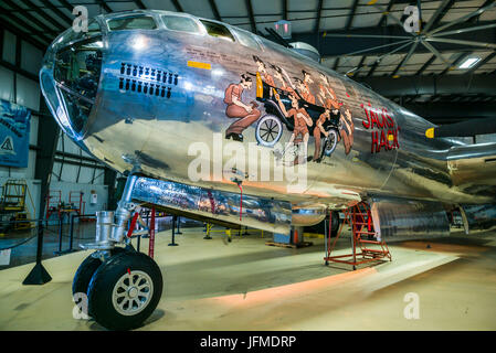 USA, Connecticut, Windsor Locks, New England Air Museum, USAF Boeing B-29 Superfortress, WW2-era bomber - Stock Photo
