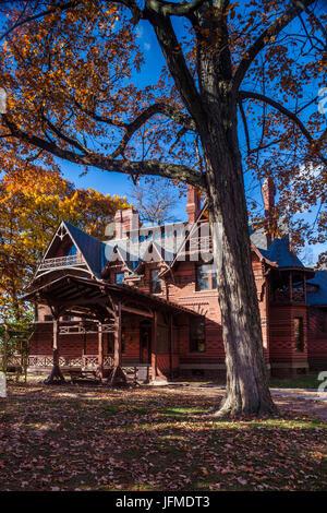 USA, Connecticut, Hartford, Mark Twain House, former home of celebrated American writer Mark Twain, autumn - Stock Photo