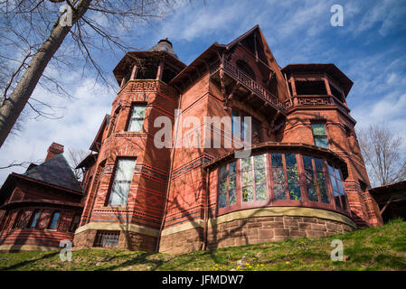 USA, Connecticut, Hartford, Mark Twain House, former home of celebrated American writer Mark Twain - Stock Photo