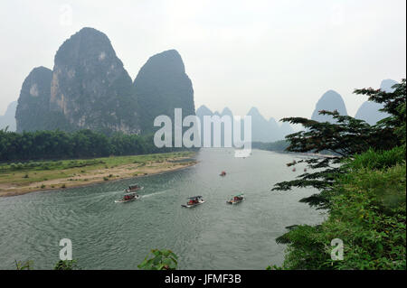 China, Guangxi Province, Guilin Region, Karst Mountain Landscape and Li River around Yangshuo - Stock Photo