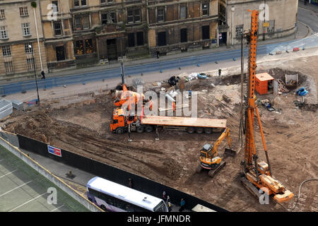 March 2015 - Construction piling equipment on the site of new accommodation for students in central Bristol, England. - Stock Photo
