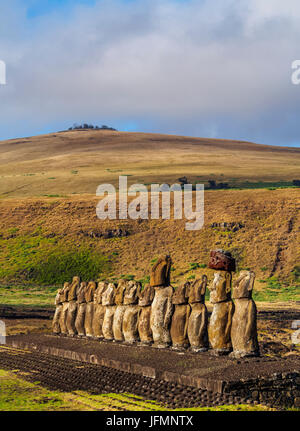Moais in Ahu Tongariki, Rapa Nui National Park, Easter Island, Chile - Stock Photo