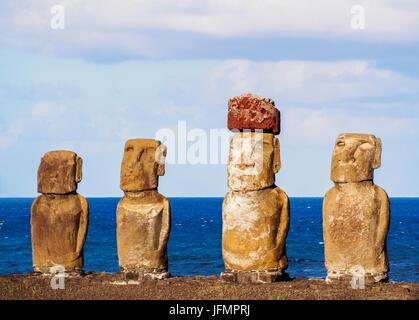 Moais in Ahu Tongariki, Rapa Nui National Park, Easter Island, Chile - Stock Photo