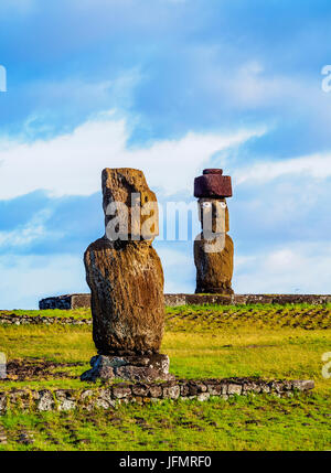 Moais in Tahai Archaeological Complex, Rapa Nui National Park, Easter Island, Chile - Stock Photo