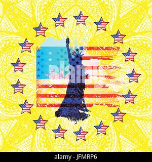 Independence Day United States. American star flag in a circle. A statue of liberty purple on a patterned yellow - Stock Photo