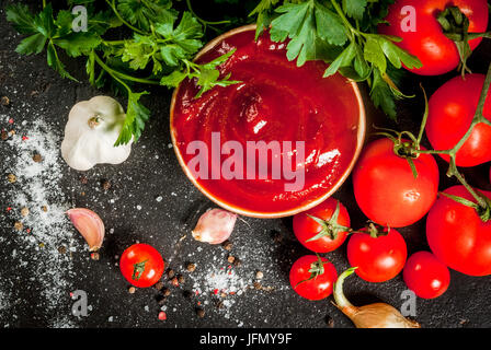 Fresh homemade organic tomato sauce or ketchup, in a small bowl. With the ingredients - parsley, onions, garlic, - Stock Photo