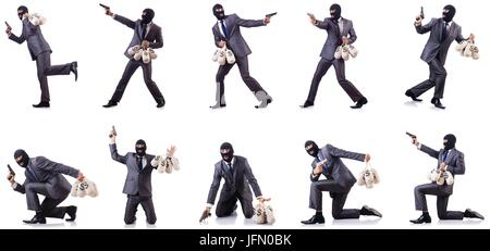 The gangster with bags of money on white - Stock Photo