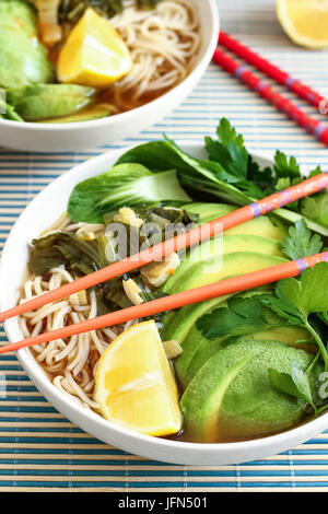 Ramen with Chow Mein Noodles - Stock Photo
