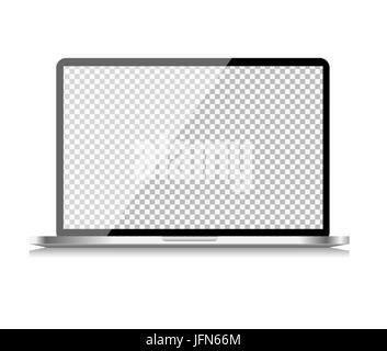 Realistic Computer Laptop with Transparent Wallpaper on Screen Isolated on White Background. Vector Illustration - Stock Photo