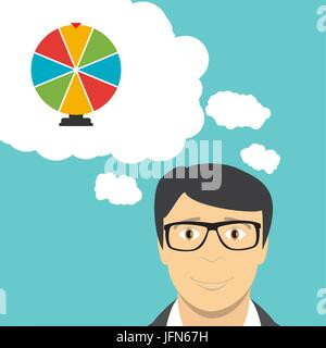 Man Businessman Thinks about Wheel of Fortune, Lucky Icon. Vector Illustration - Stock Photo