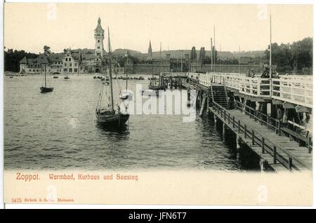 03475-Zoppot-1903-Warmbad, Kurhaus und Steg mit Segelbooten-Brück & Sohn Kunstverlag - Stock Photo