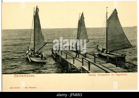 04241-Swinemünde-1903-Seesteg mit Segelbooten-Brück & Sohn Kunstverlag - Stock Photo