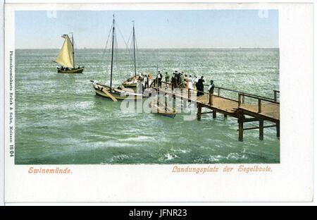 01504-Swinemünde-1900-Landungsplatz-Brück & Sohn Kunstverlag - Stock Photo