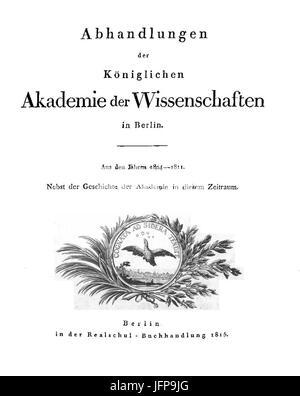 Abhandlungen der Königlichen Preußischen Akademie der Wissenschaften zu Berlin 1815 Titel - Stock Photo