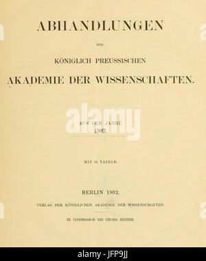 Abhandlungen der Königlich-Preussischen Akademie der Wissenschaften 1902 Titel - Stock Photo