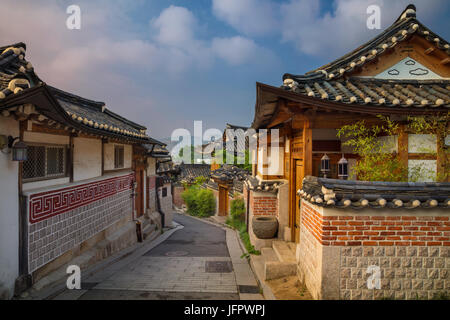 Seoul. Traditional Korean style architecture at Bukchon Hanok Village in Seoul, South Korea. - Stock Photo