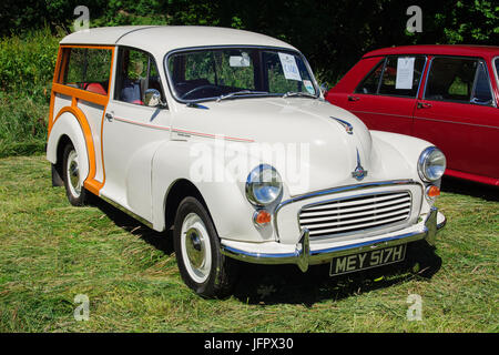 Morris Minor 1000 Traveller a classic British shooting brake car built from 1948 to 1972 with it's traditional wood - Stock Photo