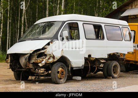Broken car after the accident - Stock Photo
