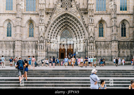 BARCELONA, SPAIN - AUGUST 05, 2016: Built in 1339 Gothic Cathedral of the Holy Cross and Saint Eulalia (Catedral - Stock Photo