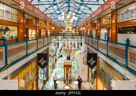 Interior of Brisbane Arcade Shopping Gallery, Queen Street, Brisbane City, Brisbane, Queensland, Australia - Stock Photo