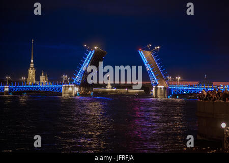 Saint Petersburg, Russia - JUNE 24, 2017: View on raised Palace bridge in summer white nights, Saint Petersburg. - Stock Photo