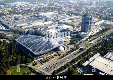 MUNICH, GERMANY - September 13, 2016: Aerial view of BMW World and BMW Museum - Stock Photo