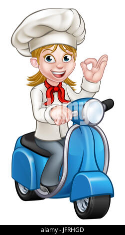 Cartoon woman chef or baker character riding a delivery moped motorbike scooter and giving a perfect okay delicious - Stock Photo