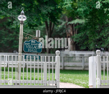 The East Hampton Village Hall sign in East Hampton, NY - Stock Photo