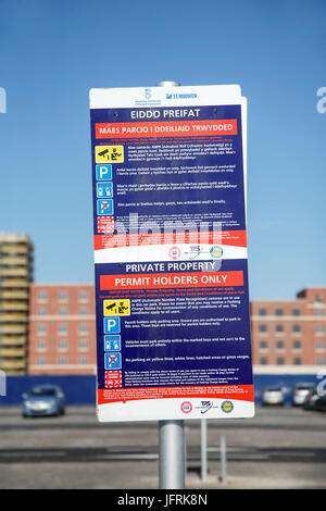 Permit Holders Only - Parking Sign - Stock Photo