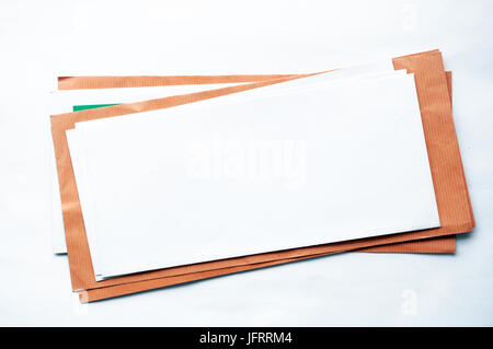 Vintage looking Letter envelopes for mail postage isolated on white background - Stock Photo