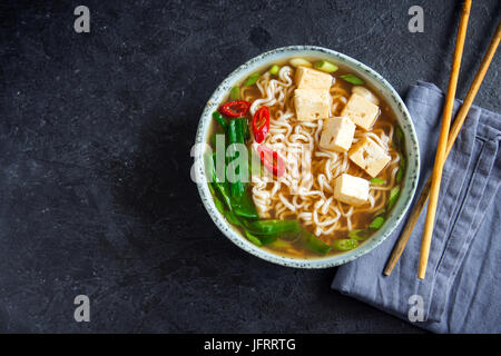 Japanese Ramen Soup With Tofu On Dark Stone Background Miso Soup With Ramen Noodles And