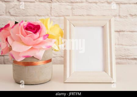 Frame Mockup. White Frame Mock up. Cream Picture Frame, Vase With Pink Roses. Product Frame Mockup. Wall Art Display - Stock Photo