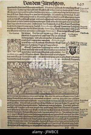 Brandschatzung von Rapperswil durch Zürich 1350 - Chronik Stumpf 1547-48 Faksimile - Stadtmuseum Rapperswil 2013 - Stock Photo