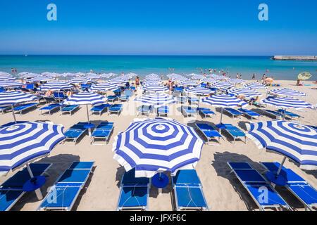 The beach in Cefalù, Sicily. Historic Cefalù is a major tourist destination on Sicily. - Stock Photo
