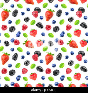 Berries pattern. Seamless background with strawberry, blackberry, raspberry and blueberry fruits isolated on white - Stock Photo