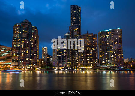 Brisbane city skyline after dark. Queensland. Australia. - Stock Photo