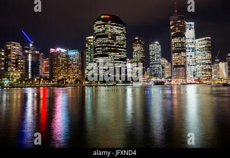 Brisbane city skyline after dark. Queensland. Australia. - Stock Photo