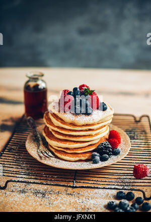 pancakes with blueberries & raspberries - Stock Photo