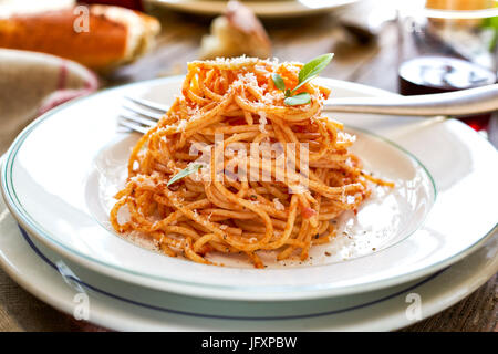 spaghetti with red sause - Stock Photo