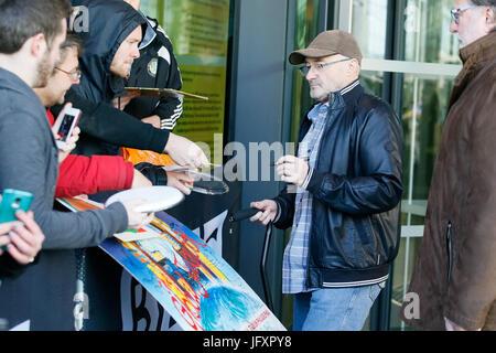 Phil Collins seen outside BBC Breakfast Studio's, MediaCityUK. - Stock Photo