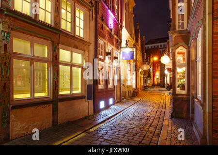 Medieval street Schnoor in Bremen, Germany - Stock Photo