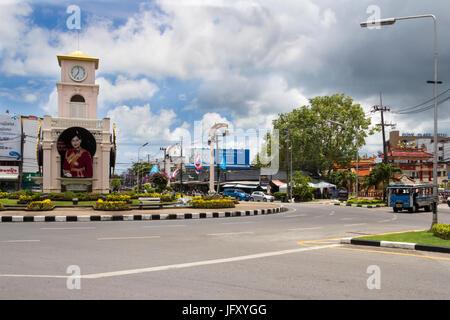 The clock tower and roundabout at Surin Circle, Phuket Town, Thailand - Stock Photo