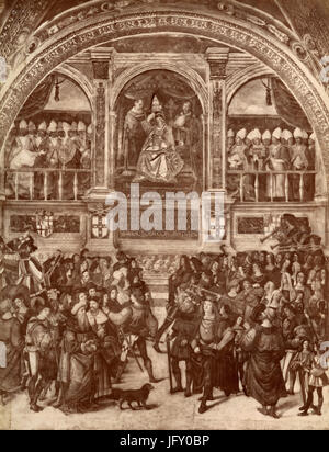 Enea Piccolomini crowned Pope Pius II, frescoed in Libreria Piccolomini by Pinturicchio, Siena, Italy - Stock Photo