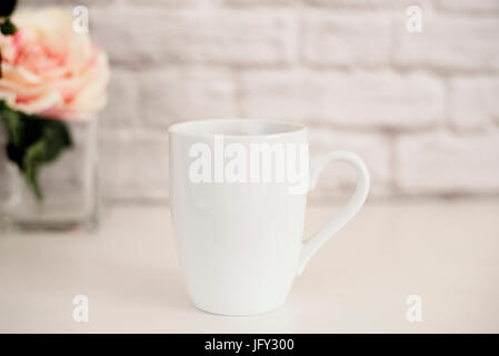 Mug Mockup. Coffee Cup Template. Coffee Mug Printing Design Template. White Mug Mockup. Blank Mug. Mockup Styled - Stock Photo