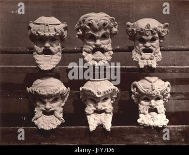 Durandelle - Ornamental Sculpture of the New Paris Opera - Masques du Vestibule du Contrôle - Stock Photo